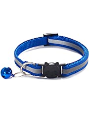 Reflective Cat Collar with Bell, Breakaway Pet Necklace for Puppy Small Dog Kitten Kitty with Safety Quick Release Buckle Adjustable Length(1 Pack) (Blue)