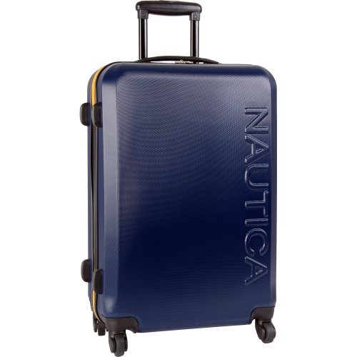 Nautica Ahoy 25 Inch Hardside Spinner Suitcase, Navy/Navy/Lighthouse Yellow, One Size