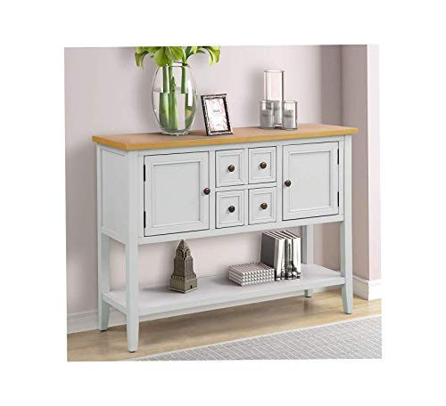 Wood & Style Furniture Buffet Sideboard Console Table with Bottom Shelf (Ivory White) Home Office Commerial Heavy Duty Strong Décor (Buffet Sideboard White Lacquer)