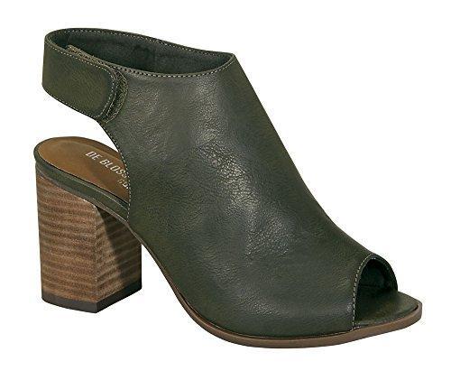 Ethleen-8 Women's Wood Chunky Peep-Toe Middle Heel Ankle Bootie Olive 9 (Fancy Dress Boots)