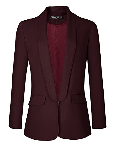 Urban CoCo Women's Office Blazer Jacket Open Front (L, Wine -
