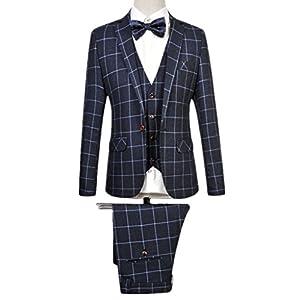 MOGU Mens Blazer Jacket Tux Vest & Trousers 3 Piece Suit