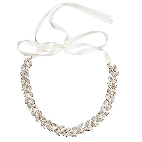(Oureong Bridal Belt Bridal Belt Alloy Leaf Studded Ribbon Belt Wedding Dress Accessories for Wedding Dress Bridesmaid Gown (Color : Gold, Size : 41cm))