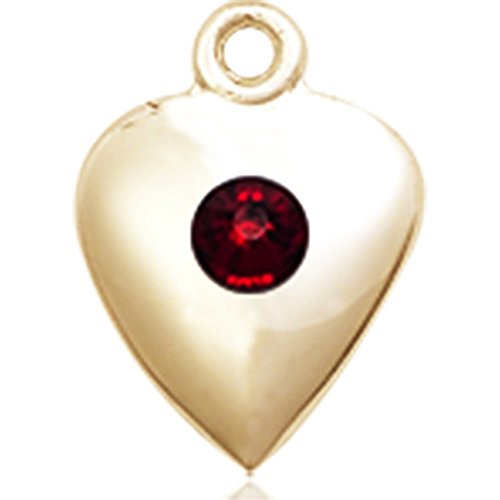 14kt Yellow Gold Heart Medal with 3mm January Red Swarovski Crystal 1 1/4 x 1 5/8 inches by Bonyak Jewelry Saint Medal Collection