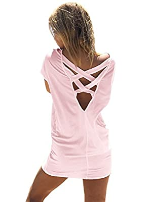Yingkis Women Casual Summer Bikini Beach Shirt Dress Criss Cross Swimsuit Swimwear Bathing Suit Cover Up