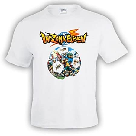 Camiseta Inazuma Eleven (Balon) Blanca manga corta (Talla: Talla M Unisex Ancho/Largo [53cm/72cm] Aprox]) Mx Games