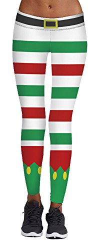 Vintange White Green Red Print Striped Pants Ankle Leggings for Christmas (Green And White Striped Leggings)