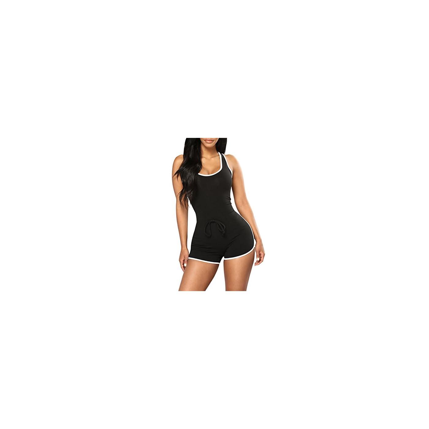 Selowin Womens Active Sport Sleeveless Racerback Tank Top Bodycon Shorts Romper Jumpsuit 41RLh2XBq8L