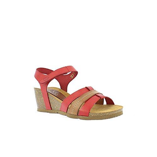 Yokono Women's Cadiz Vaquetilla Platform Sandals Red (Rojo 005) oIiaClI