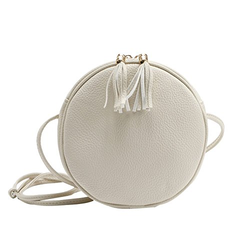 Badiya Mini Round Cross Body Bag PU Leather Double Tassel Pendant Shoulder Zipper Bag White