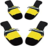 Muttluks Original All-Weather IB to XXL Dog Boots, 4 Pack (Yellow, Medium (3.25-3.75in))