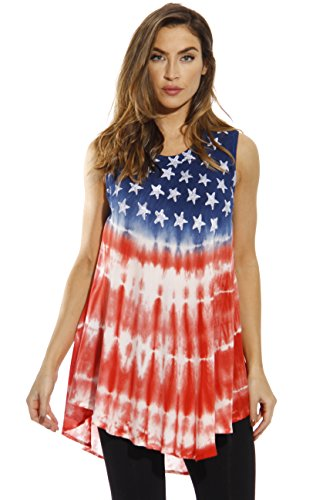 Riviera Sun 21719-XL American Flag Top/Tops for Women