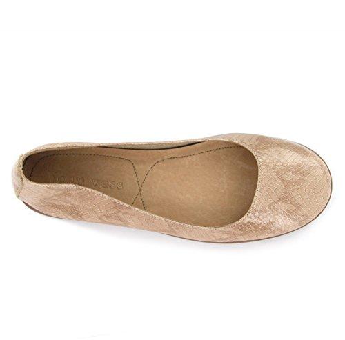 Joan Vass Patricia Damen Leder Ballett Flache Schuhe (Weitere Farben-Designs und Größen) Nackt