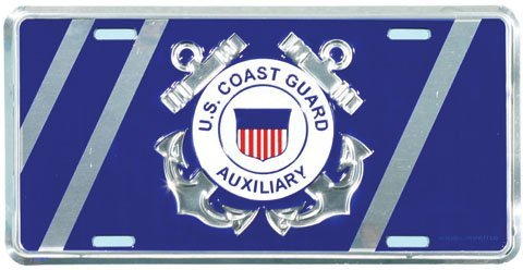MP Aluminum Military License Plate US Coast Guard Auxiliary New Made in The USA