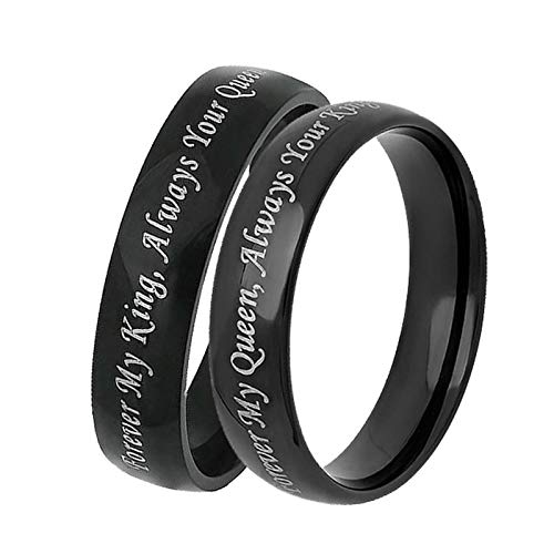Aooaz Wedding Bands Sets for Him and Her Rings Stainless Steel Wedding Black Ring Engraved Forever My King/Queen Duck Band Wedding Rings for Men Women 5 & Men 7 -