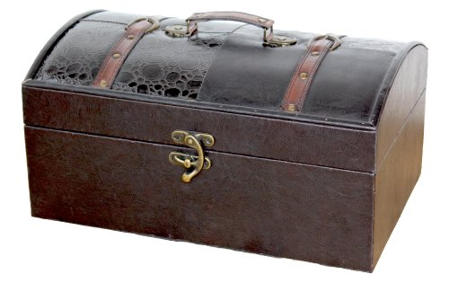 Leather Trunk, Designer Treasure Chest (Royal, Large) by Quickway Imports