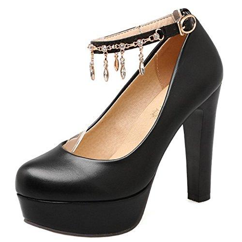 Chaussures Boucle Talons TAOFFEN Cheville Elegant 733 Sangle de Femmes Noir Escarpins Soiree de Bloc Hauts gx7wvUqx