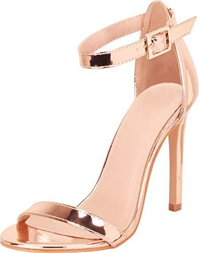 Cambridge Select Women's Classic Single Band Ankle Strap Stiletto High Heel Pump,7.5 B(M) US,Rose Gold PU