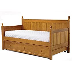 Fashion Bed Group Casey II Wood Daybed with Ball Finials and Roll Out Trundle Drawer, Honey Maple Finish, Twin