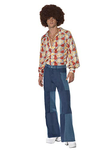 Smiffys Men's Patchwork Flares Costume, Denim print patchwork pants, 70 Disco, Serious Fun, Size M, 33838 -