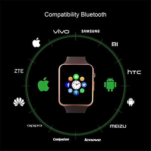 Bluetooth Smartwatch,Smart Watch Unlocked Watch Phone can Call and Text with TouchScreen Camera Notification Sync for Android SumSung Huawei and IOS iPhone 7 8 X(Gold) by aimion (Image #4)