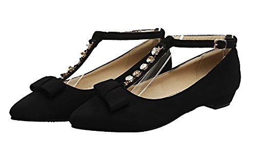 Closed WeiPoot Solid Toe Heels Buckle Black Pumps Women's Low Shoes Frosted 0trqfwt