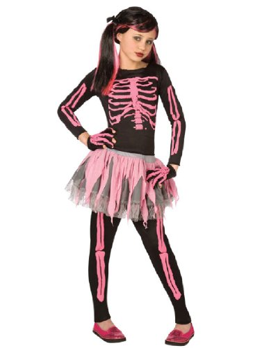 Girl Punk Costumes (WMU Girls Skeleton Punk Costume, Pink, Small)