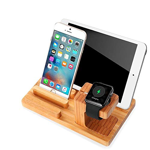 Apple Watch Stand - Cell Phone Stand Charging Dock - Ptuna Bamboo Wood Charging Station for iPhone - Galaxy - iPad - Smartphones - Tablets - Apple Watch(Bamboo Wood-4 USB Ports)