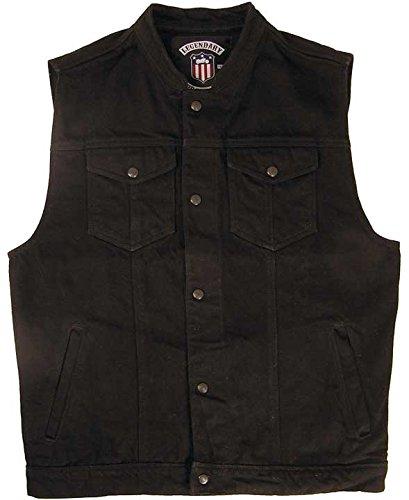 Legendary USA Men's Revolution Black Denim Motorcycle Vest - Made in - Denim Revolution