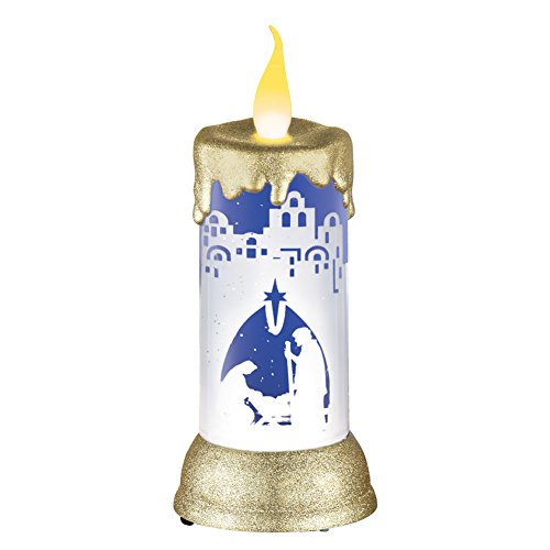 Scene Snowglobe Nativity (Collections Etc LED Nativity Scene Snow Globe Candle)