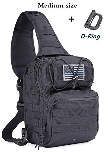 boxuan Tactical Sling Bag Pack Military Rover Shoulder Sling Backpack EDC Molle Assault Range Bags Day Pack with Tactical USA Flag Patch (Medium & Small Sizes)