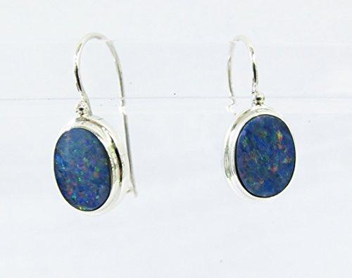 Sterling Australian Opal Doublet - handmade 925 sterling silver drop AAA fire doublet opal earrings, silver earring with opal clip back lock, genuine opal earrings, australian opal earrings, 2,3 cm drop length