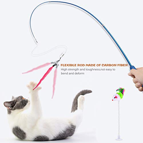 Retractable Cat Toys Wand with 5 Piece Teaser Refills, Interactive Cat Feather Toy for Cat Kitten Having Fun Exerciser Playing 4