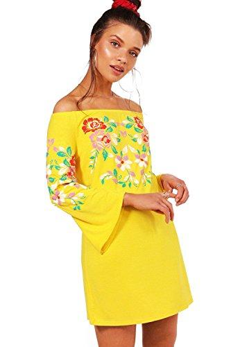 Damen Gelb Imogen Schulterfreies Etuikleid mit Print und Stickerei ...