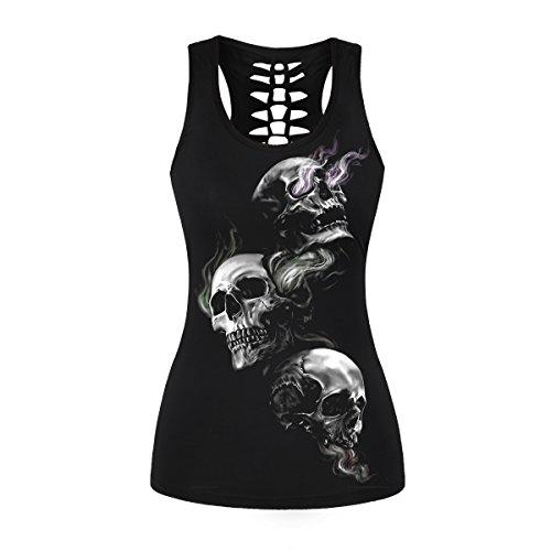Womens Skull Shirts Cut Out Workout Yoga Running Tank Tops Sleeveless Casual Shirts Tops (S/M, Smoke Skull 012)