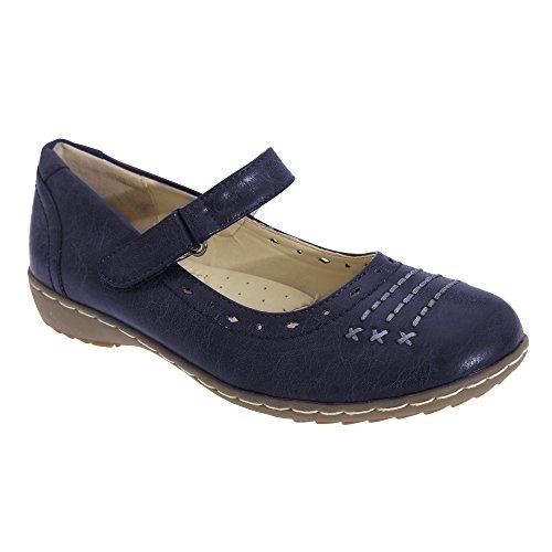 Boulevard Womens / Ladies Chiusura A Pressione Mary Jane Shoes Navy