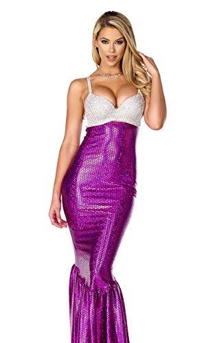 Forplay Women's Mermaid Costume Rhinestone Bra and Metallic Skirt, Purple, Medium/Large - Forplay Rhinestone