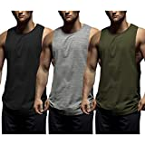 COOFANDY Mens Workout Tank Tops 3 Pack Sleeveless Shirts Gym Bodybuilding Muscle Tee Shirts