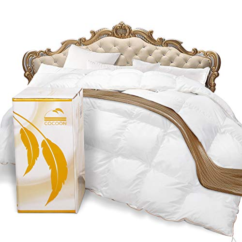 Cocoon Premium Organic Siberian Goose Feathers Queen Size Down Comforter 100% Egyptian Cotton 1200...