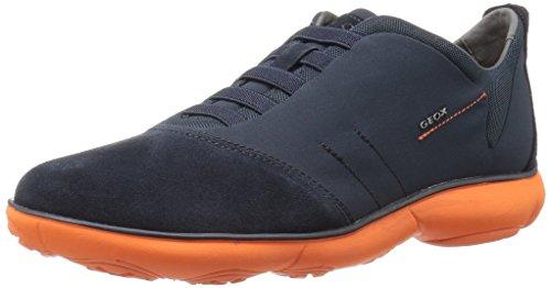 Geox Men's Mnebula24 Fashion Sneaker, Navy/Orange, 45 EU/12 M US