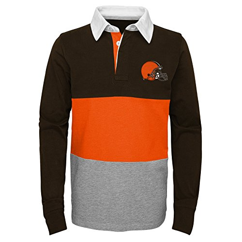Outerstuff NFL Cleveland Browns Youth Boys State of Mind Long Sleeve Rugby Top Brown Suede, Youth Large(14-16)