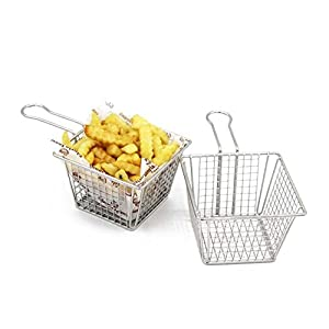 Mannily 2PCS Mini Fry Basket Stainless Steel Square Fryer Basket Present Fried Chip Food, Table Serving(Large Size)