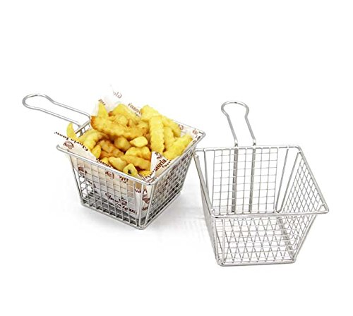 Mannily 2PCS Mini Fry Basket Stainless Steel Square Fryer Basket Present Fried Chip Food, Table Serving(Large - Basket Square Serving