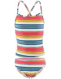 Girls Two Piece Tankini Swimsuit Rainbow Stripes Bathing Suit Swimwear 5T