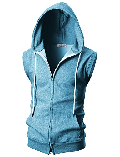 OHOO Mens Slim Fit Sleeveless Lightweight Zip-up Hooded Vest with Double Slide Zipper/DCF011-SKYBLUE-M