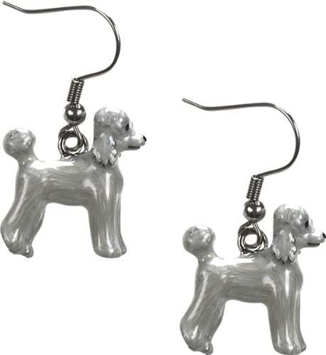 Silver-plated earrings with an image of a pure-bred dog Poodle