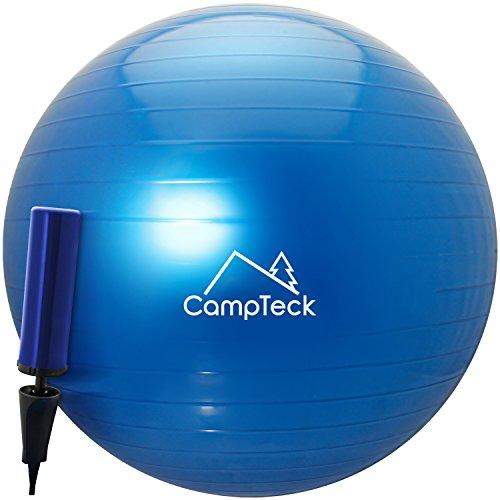 CampTeck U6764 Ballon Suisse de Gym 65cm Ballon d'exercice avec Pompe a Main pour Fitness, Salle de Gym, Yoga, Pilâtes, Crossfit etc. - Convient pour Hommes et Femmes, Bleu