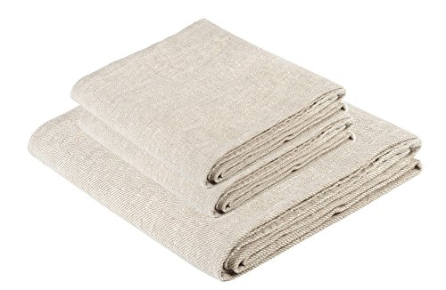 BLESS LINEN Natural Huckaback Pure Linen Towel Set of 3, Natural Gray - Includes 1 Large Bath Towel and 2 Hand Towels