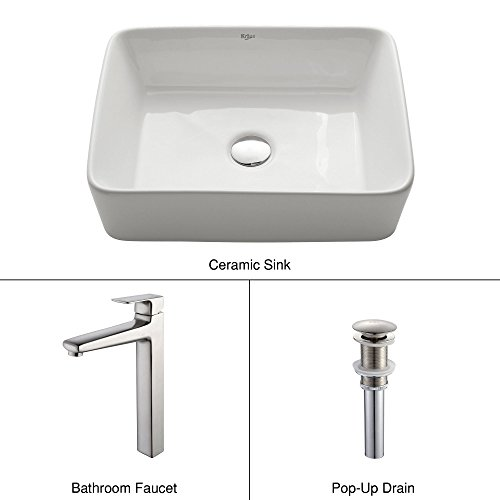 Kraus C-KCV-121-15500BN White Rectangular Ceramic Sink and Virtus Faucet Brushed Nickel