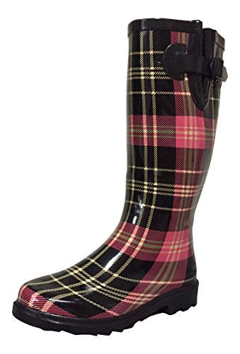 PSW Womens MSTKH Rubber Rain Boots Black/Red Plaid